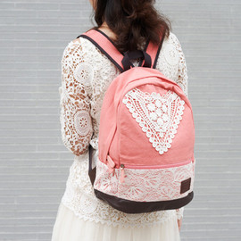 alanatt - Navy Blue Backpack with Lace