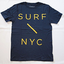 SATURDAYS Surf NYC - Surf Slash T-Shirt (BLUE x YELLOW / Biotop ADAM ET ROPE model)