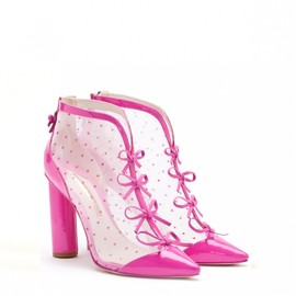 SOPHIA WEBSTER - AMELIA CARMINE PINK LEATHER AND POLKADOT MESH BOOTIE