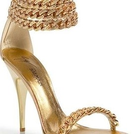 BALMAIN - Gold Chain Anklet Sandals.
