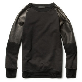 Alexander McQueen - Degrade Leather Sleeved Cotton Sweatshirt