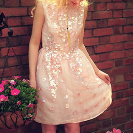 Ornate Pink Sequined Embroidery Low Cut V Back Tank Dress