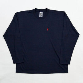 "transient existence - #972 ""WOOL IS COOL"" 100% Merino Wool L/S Tee Shirt Navy Blue"