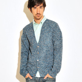 Design Tshirts Store graniph - Mix Color Long Sleeve Knitted Cardigan(Navy)