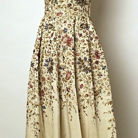 Pierre Balmain, - Embroidered silk evening dress worn by Ava Gardner