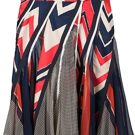 sacai - FW2015 Red, white and blue cotton blend printed panelled skirt