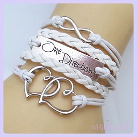 plamode - Charm Fashion Leather Bracelet Heart One Direction White