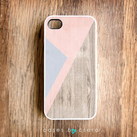 casesbycsera - Unique iPhone Case, Wood iPhone 4 Case, Pastel iPhone Case, Peach Color Cell Phone Case Geometric Case, Lilac Abstract iPhone Cover