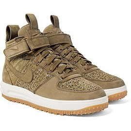 Nike - Lunar Force 1 Workboot Suede and Flyknit High-Top Sneakers