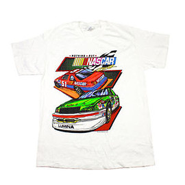 VINTAGE - Vintage 90s 1993 Nascar Racing Shirt in White 1990s Mens Clothing Size Medium