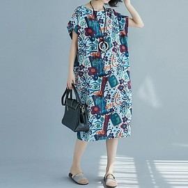 sundress - Cotton and linen long Oversized sundress in blue Summer bat sleeves dresses linen dresses