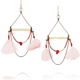 Etro - Gold-plated, bone, coral, shell and feather earrings