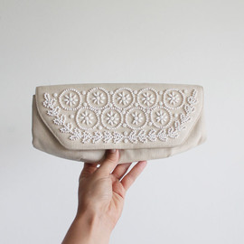 Vintage 60s Ivory Beaded Clutch | Formal Bridal Purse