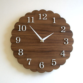 "decoylab  - 11"" Modern Wall Clock - Scallop - Walnut finish"
