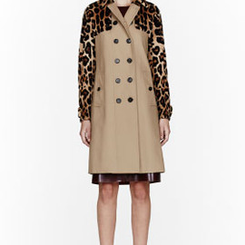 BURBERRY PRORSUM - Tan Mink & Leather Trench coat