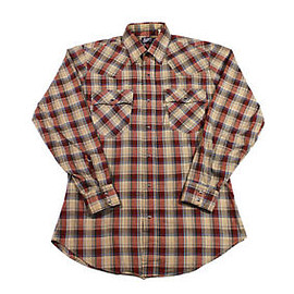 LEVI'S - Vintage-80s-Levis-Plaid-Pearl-Snap-Western-Shirt-Made-in-USA-Mens-Size-Small