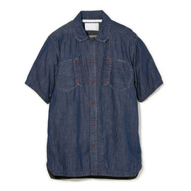 White Mountaineering - 4.5OZ DENIM VINTAGE WASH MILITARY SHORT SLEEVE SHIRT