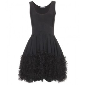 Alexander McQueen - BLACK STRETCH DRESS WITH TIERED RUFFLE TRIM
