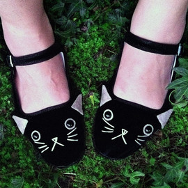 EM & SPROUT - Embroidered Kitty Flats Mary Janes