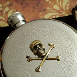 Round Skull Flask Pirate Flask Mixed Metals Gothic Victorian Vintage Inspired Skull Crossbones