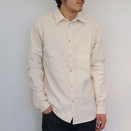 FRANK LEDER - VINTAGE BED LINEN SHIRT -NATURAL-【Z】 No.0226123