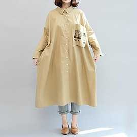 Long dress - Women Loose large size Long dress Cotton dress shirt/ Single breasted gown