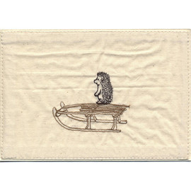 hedgehog on sled embroidered stationery