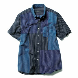 SOPHNET. - S/S PATCH WORK B.D SHIRT / NAVY