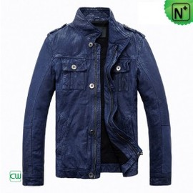 CWMALLS - Blue Motorcycle Leather Jackets CW813087 - m.cwmalls.com