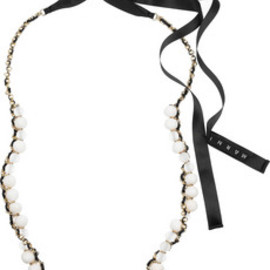 MARNI - Beaded chain and ribbon necklace