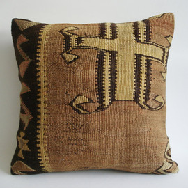 Sukan - Hand Woven Vintage Turkish Kilim Pillow Cover, Decorative Pillow, Throw Pillow Cover, Accent Pillow, 16x16 inch