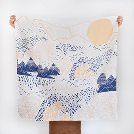 LINK - Mountain Blossom Furoshiki. Japanese multi wrapping cloth and scarf.