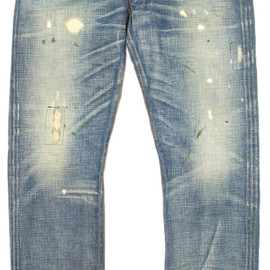 RRL - RRL FLEET BLUE DAMAGE &REPAIRED DENIM(LOW STRAIGHT)