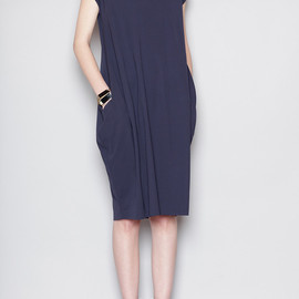 JIL SANDER - Three-Quarter Dress, Navy