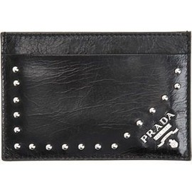 PRADA - Vitello Studded Credit Card Case