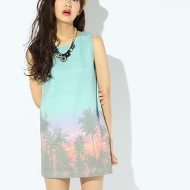 ROSE BUD - DIGITAL PT SLEEVELESS MINI DRESS