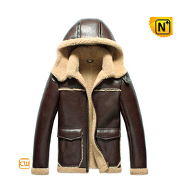CWMALLS - Sheepskin Bomber Jacket with Hood CW856160