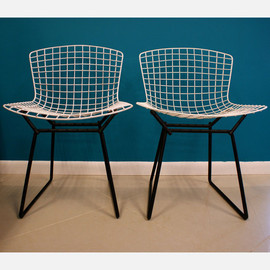 Harry Bertoia - Original Early Bertoia Wire Chair white, black