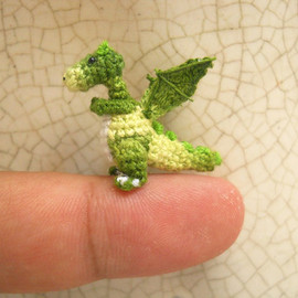 SuAmi - Green Dragon Winged - Tiny Crochet Miniature Dino Stuffed Animals - Made To Order