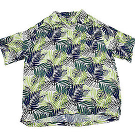 VINTAGE - Vintage 1990s 90s Leaf Print Tiki Hawaiian Shirt White/Blue/Green Mens Size XL