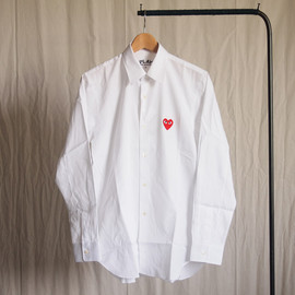 PLAY COMME des GARCONS - 綿ブロード(赤エンブレム) Shirt #white