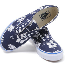 VANS - 【VANS】AUTHENTIC レースレス (ALOHA) D.BLU/WH