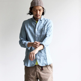 maillot - sunset linen round work shirts (リネン・ワーク) MAS-062