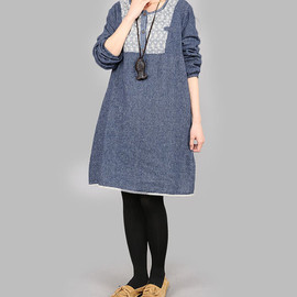 dresses - linen tunic knee length dresses linen plus size dresses coffee color dress blue dress