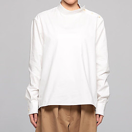 STUDIO NICHOLSON - PEACHED TWILL STAND COLLAR BLOUSE