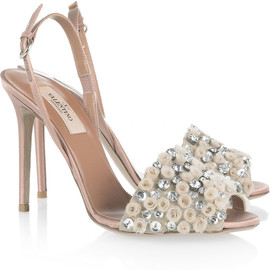 VALENTINO - Crystal-embellished satin sandals