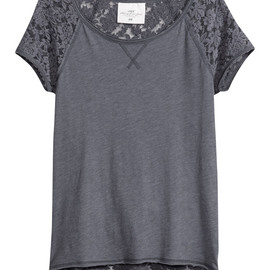 H&M - Lace Tiered Raglan T