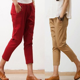pants for women - Cotton pants for women, Comfortable Cotton pants, Casual pants, Pencil pants, Elastic waist pants