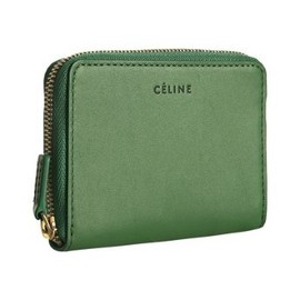 CELINE - style #311806401 green leather zip card holder