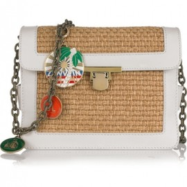 LANVIN - LANVIN◆Leather and woven straw charm bag 1